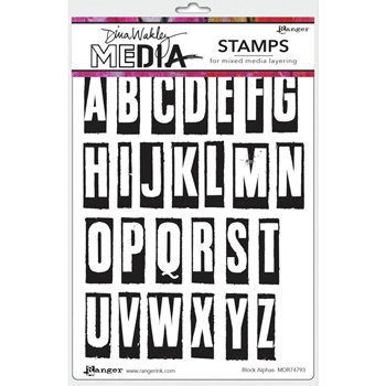 Dina Wakley BLOCK LETTERS Media Cling Rubber Stamp MDR7793