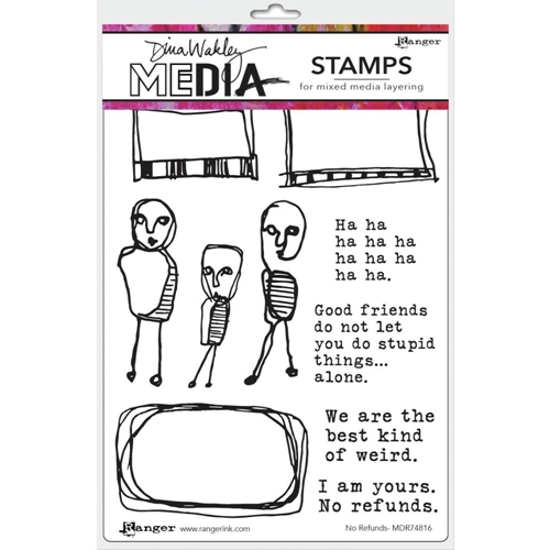 Dina Wakley NO REFUNDS Media Cling Rubber Stamp MDR7816 Preview Image