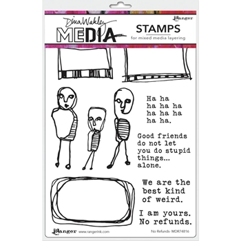 Dina Wakley NO REFUNDS Media Cling Rubber Stamp MDR7816