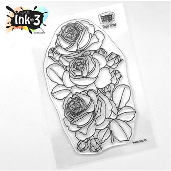Inkon3 TRIPLE ROSE Clear Stamps 04090
