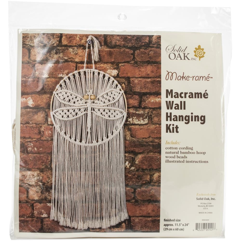 Solid Oak DRAGONFLY Macrame Wall Hanging Kit mwh009 zoom image