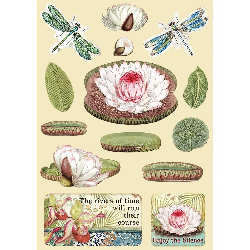 Stamperia AMAZONIA WATER LILY Colored Wooden Shapes klsp094 zoom image