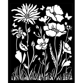 Stamperia ATELIER DES ARTS POPPY AND FLOWER Stencil kstd072