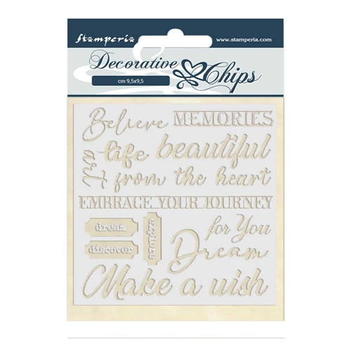 Stamperia ATELIER DES ARTS QUOTES Decorative Chips scb46 Preview Image