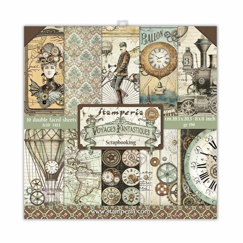 Stamperia VOYAGES FANTASTIQUES 8x8 Paper sbbs30 Preview Image