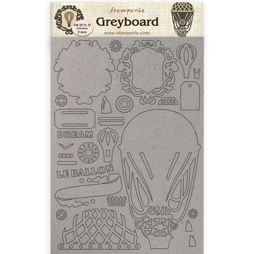 Stamperia VOYAGES FANTASTIQUES AIR BALLOON Grayboard klspda427 Preview Image