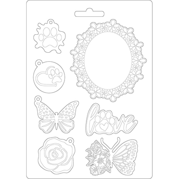 Stamperia CIRCLE OF LOVE FRAME AND BUTTERFLY Soft Mold A5 k3pta572