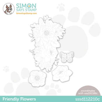 Simon Says Stamp FRIENDLY FLOWERS Wafer Dies sssd112210c