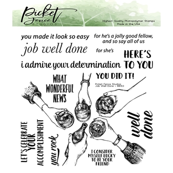Picket Fence Studios JOB WELL DONE Clear Stamps bb163*