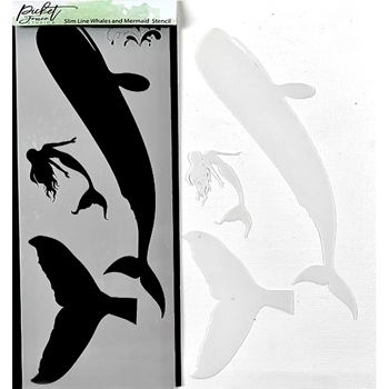 Picket Fence Studios WHALES AND MERMAID Slim Line Stencil sc226