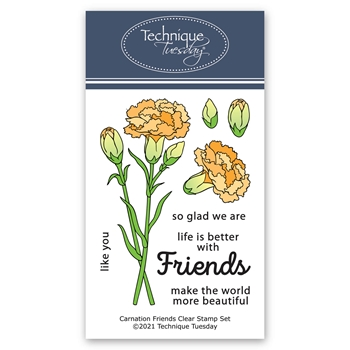 Technique Tuesday CARNATION FRIENDS Clear Stamps 8841