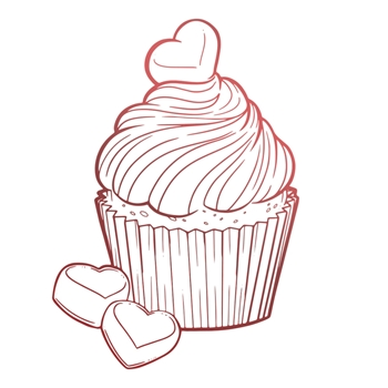 Couture Creations CHOCOLATE CUPCAKE Mini Clear Stamp co728124*