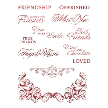 Couture Creations CHERISHED FRIENDS Clear Stamp Set co728130*