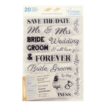 Couture Creations FOREVER AND ALWAYS SENTIMENT Clear Stamp Set co728269