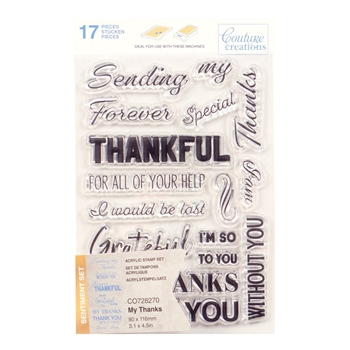 Couture Creations MY THANKS SENTIMENT Clear Stamp Set co728270*