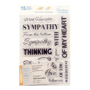 Couture Creations WITH SYMPATHY SENTIMENT Clear Stamp Set co728271