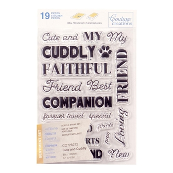 Couture Creations CUTE AND CUDDLY SENTIMENT Clear Stamp Set co728272*