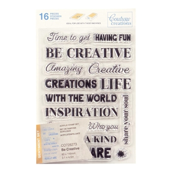 Couture Creations BE CREATIVE SENTIMENT Clear Stamp Set co728273*
