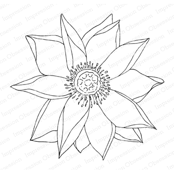 Impression Obsession Cling Stamp LOTUS FLOWER 3 F13970