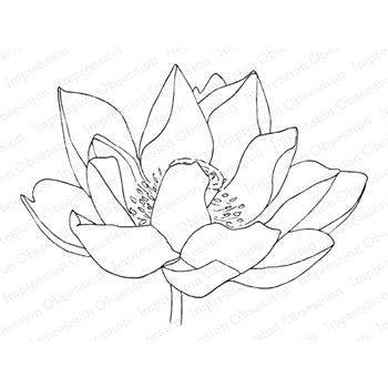 Impression Obsession Cling Stamp LOTUS FLOWER 2 E13969