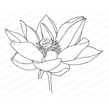 Impression Obsession Cling Stamp LOTUS FLOWER 1 F13968