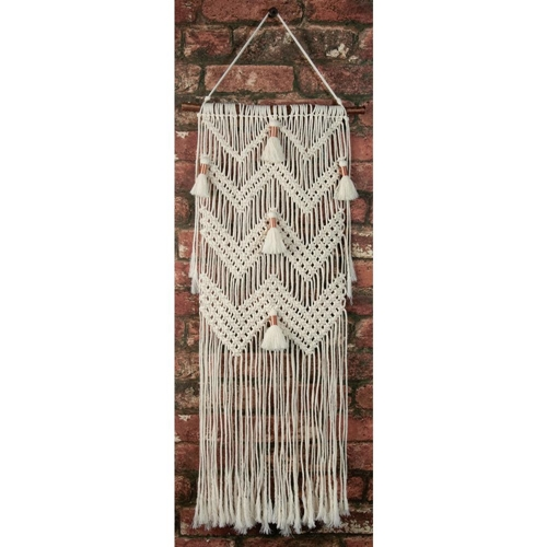 Solid Oak CHEVRONS AND TASSELS Macrame Wall Hanging Kit mwh004 Preview Image