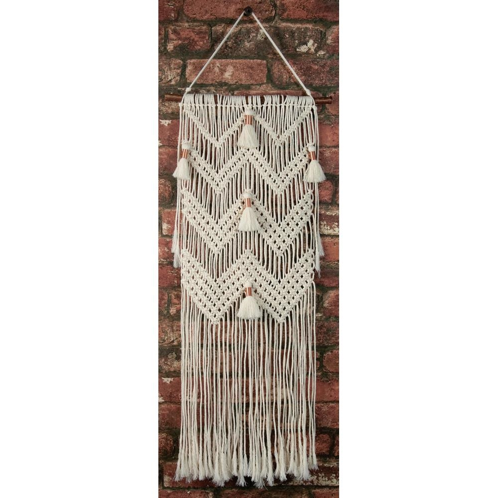 Solid Oak CHEVRONS AND TASSELS Macrame Wall Hanging Kit mwh004 zoom image