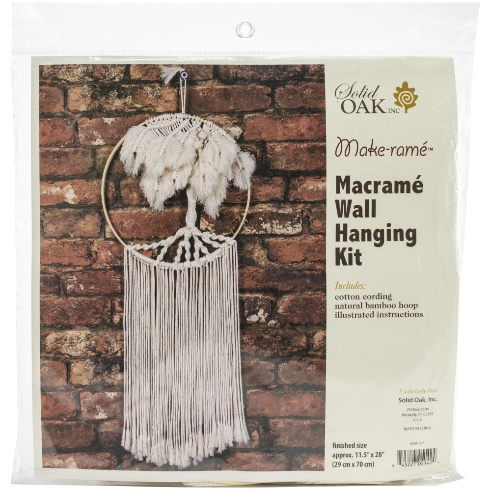 Solid Oak PALM TREE Macrame Wall Hanging Kit mwh007 zoom image