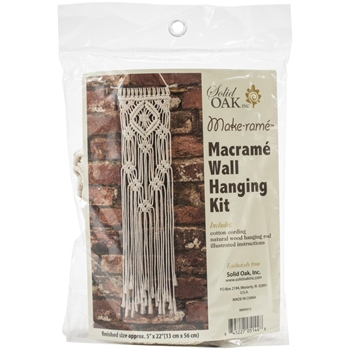 Solid Oak LACY SQUARES Macrame Wall Hanging Kit mwh013