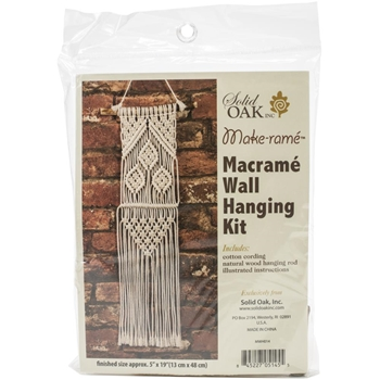 Solid Oak THREE LEAVES Macrame Wall Hanging Kit mwh014