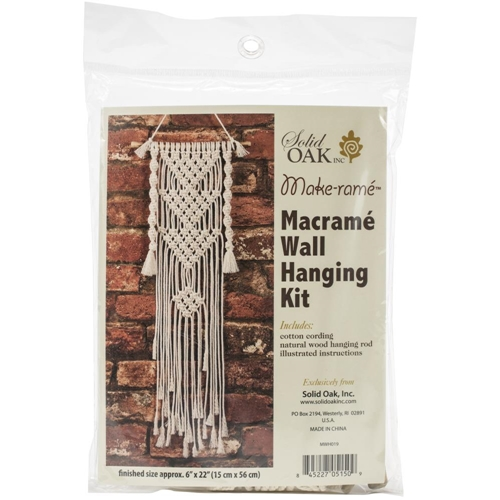 Solid Oak THREE TRIANGLES Macrame Wall Hanging Kit mwh019 Preview Image