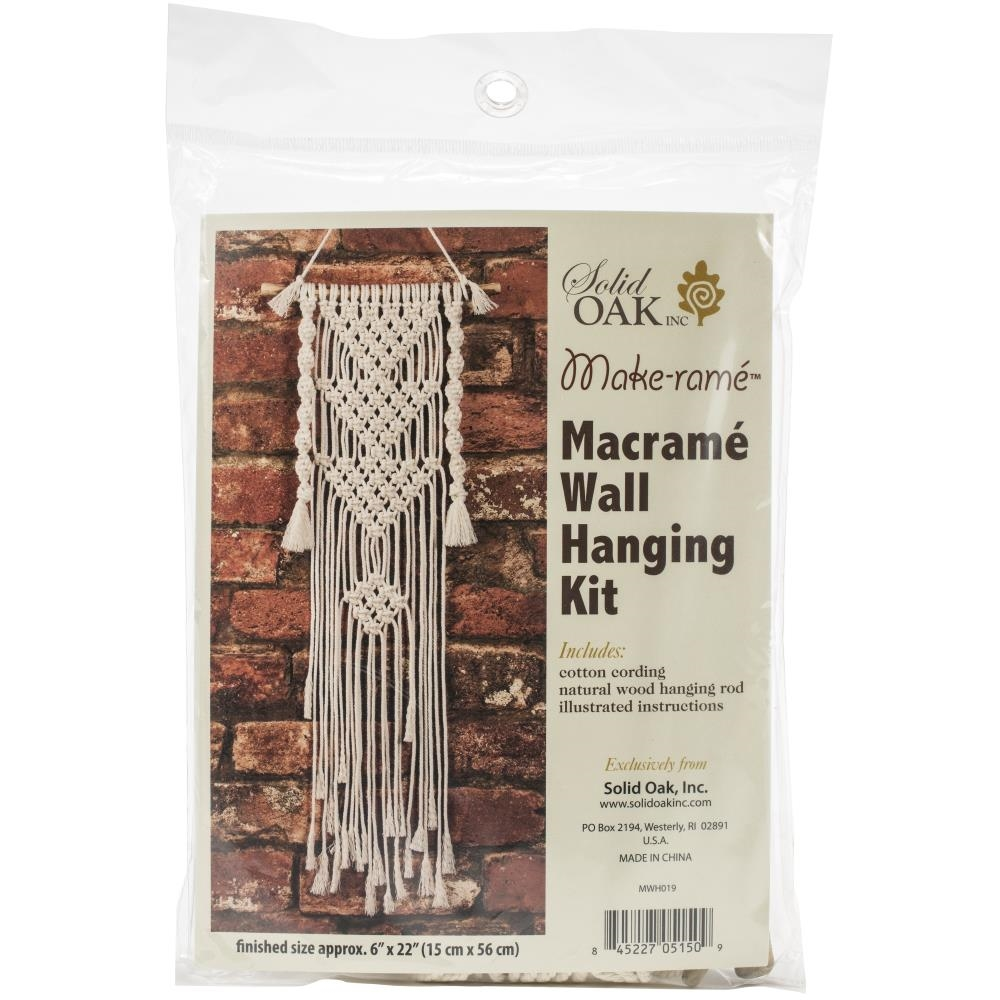 Solid Oak THREE TRIANGLES Macrame Wall Hanging Kit mwh019 zoom image