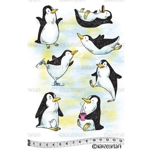 Katzelkraft FUNNY PINGOUINS Red Rubber Unmounted Stamp KTZ239 Preview Image