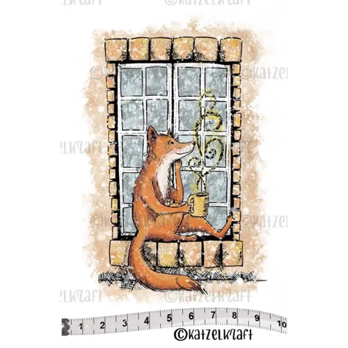 Katzelkraft FOX ON WINDOW Red Rubber Unmounted Stamp SOLO139 Preview Image