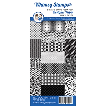 Whimsy Stamps SLIMLINE BLACK AND WHITE DOG 8.5 x 3.5 WSDPS06