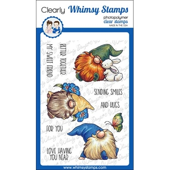 Whimsy Stamps GNOME THINK SPRING Clear Stamps C1376