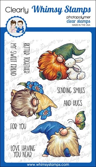 Whimsy Stamps GNOME THINK SPRING Clear Stamps C1376 zoom image