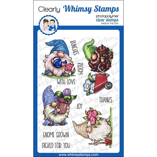 Whimsy Stamps GNOME GARDENERS Clear Stamps C1375 Preview Image