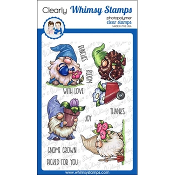 Whimsy Stamps GNOME GARDENERS Clear Stamps C1375