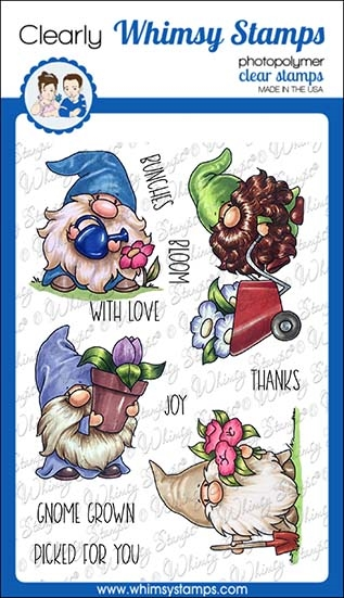 Whimsy Stamps GNOME GARDENERS Clear Stamps C1375 zoom image