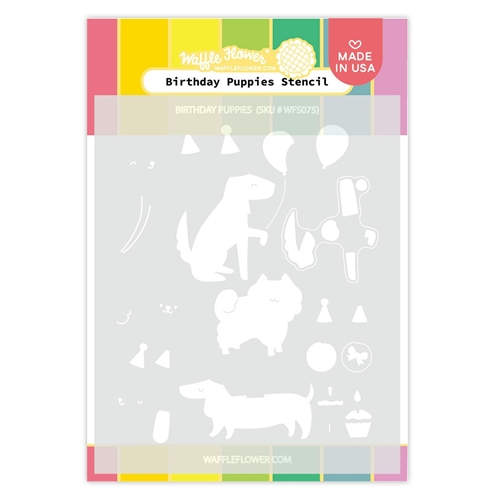 Waffle Flower BIRTHDAY PUPPIES Stencil WFS075 Preview Image