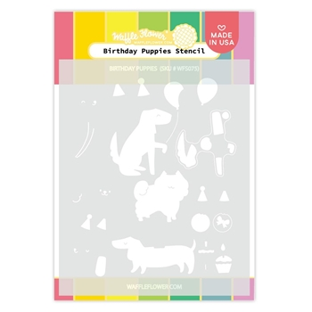 Waffle Flower BIRTHDAY PUPPIES Stencil WFS075