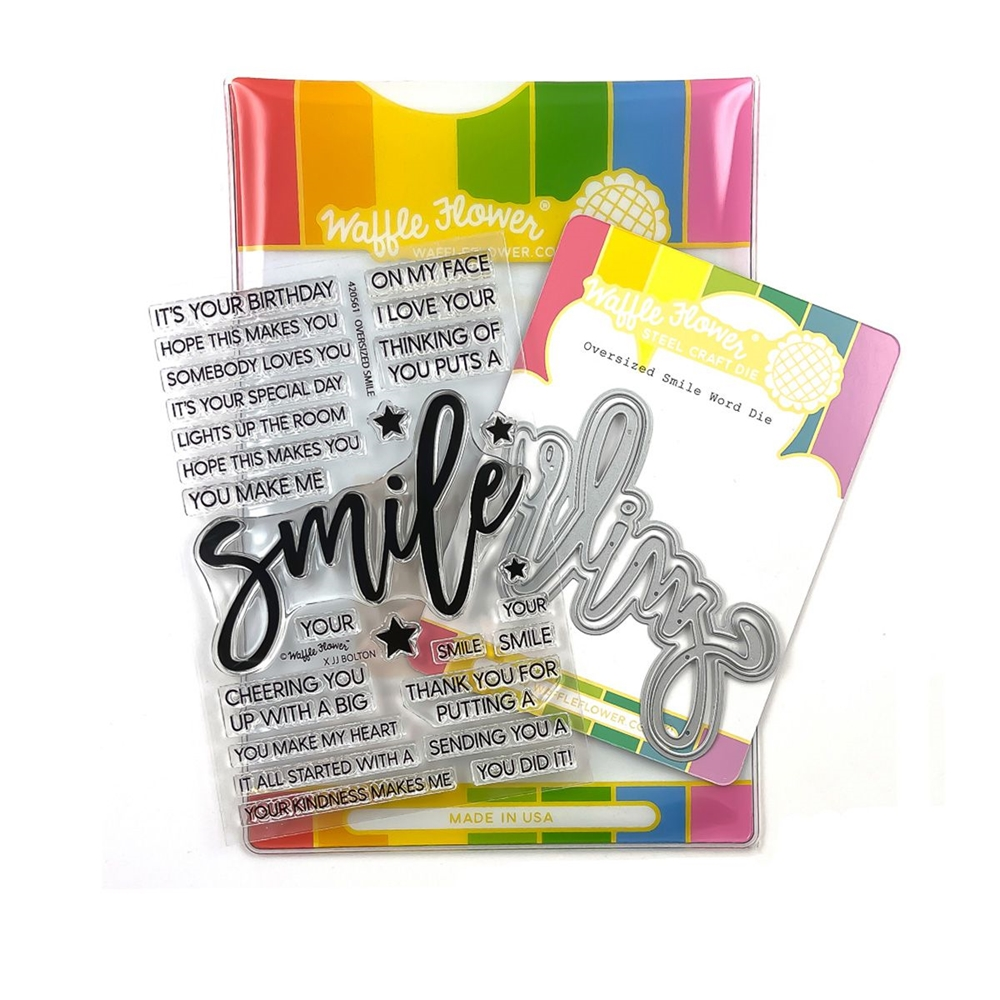 Waffle Flower OVERSIZED SMILE Clear Stamp and Die Combo WFC561 zoom image