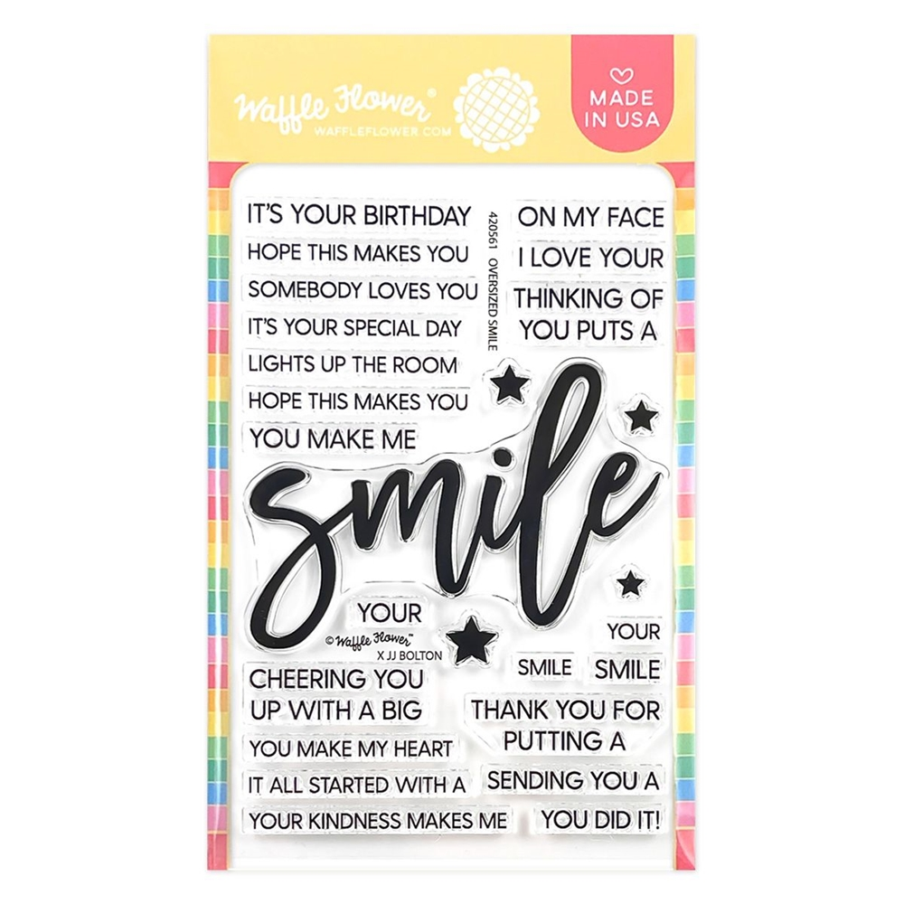 Waffle Flower OVERSIZED SMILE Clear Stamps 420561 zoom image