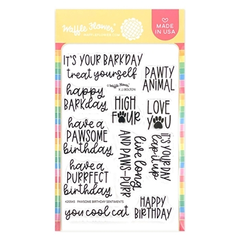 Waffle Flower PAWSOME BIRTHDAY SENTIMENTS Clear Stamps 420545