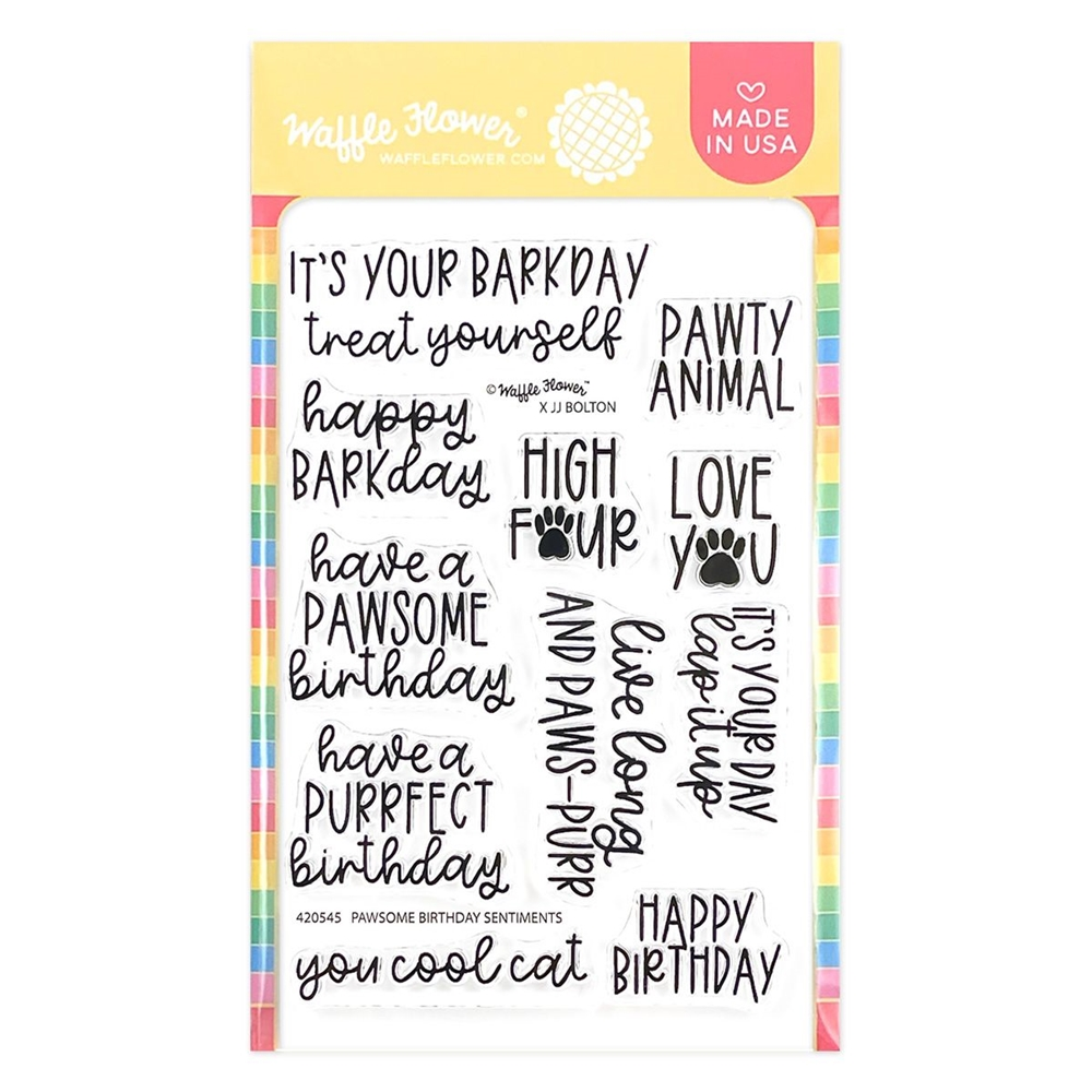 Waffle Flower PAWSOME BIRTHDAY SENTIMENTS Clear Stamps 420545 zoom image