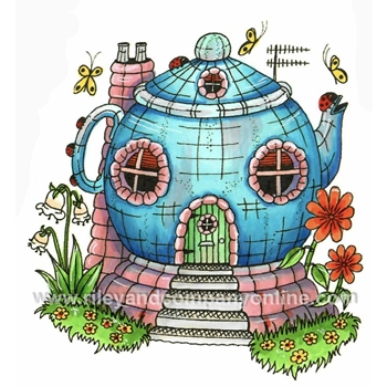 Riley And Company Mushroom Lane TEAPOT HOUSE 2 Cling Stamps ML2425