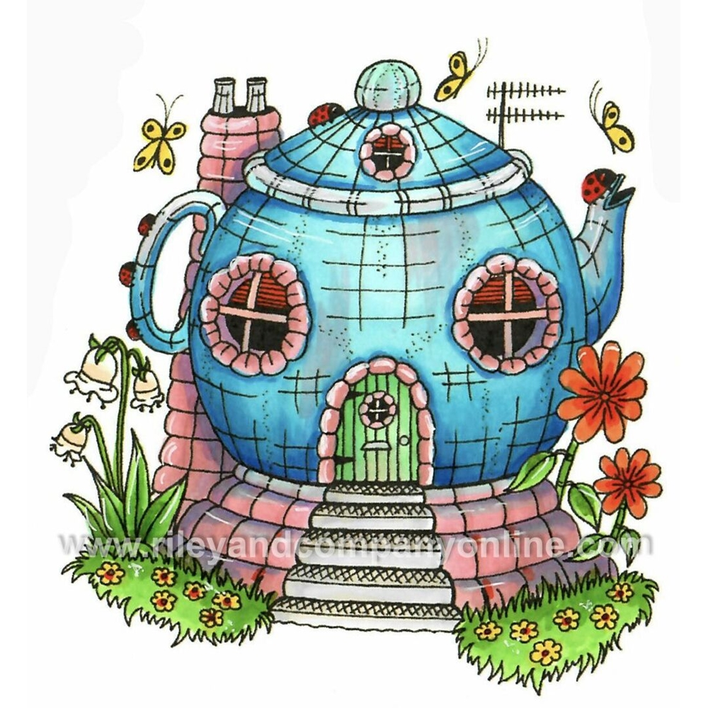 Riley And Company Mushroom Lane TEAPOT HOUSE 2 Cling Stamps ML2425 zoom image