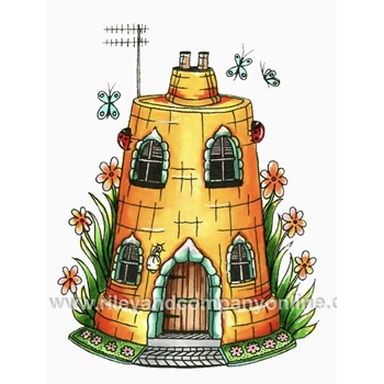 Riley And Company Mushroom Lane CLAY POT HOUSE 1 Cling Stamps ML2426