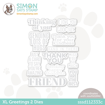 Simon Says Stamp XL GREETINGS 2 Wafer Dies sssd112333c All The Feels